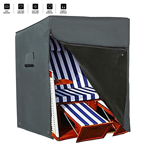 HENTEX Schutzhülle Strandkorb,Strandkorb Schutzhülle,Material mit aktiven Atmen Funktion, 128x105Dx140/160H cm