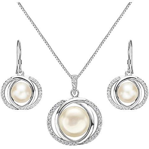 EleQueen Orecchini gancio argento 925 CZ Crema coltivata d'acqua dolce perla Circle collana nuziale circolari insieme