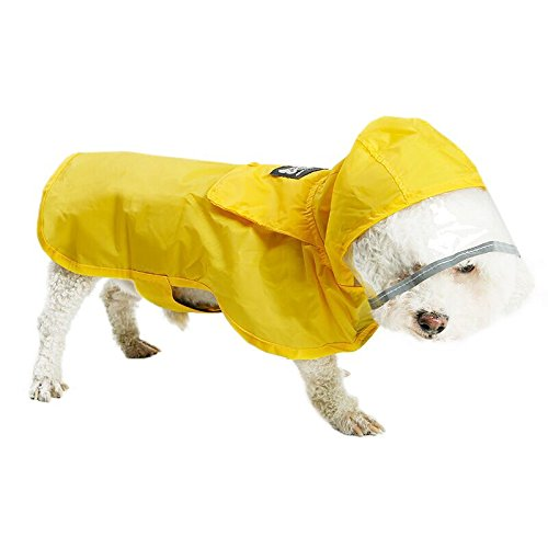 REXSONN Verstaubarer Hunde Regenjacke Faltbar Poncho, XL (Chest 56-65cm, Length 50cm), Gelb -