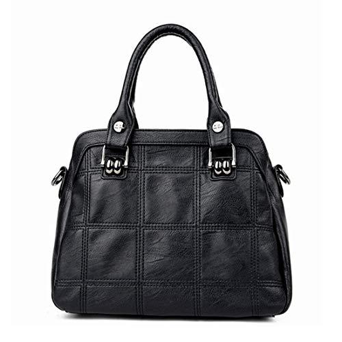 Fepelasi Frauen Soft-Leder Mum Taschen Schultertasche Damen Handtasche Schultertasche Casual (Color : Black)