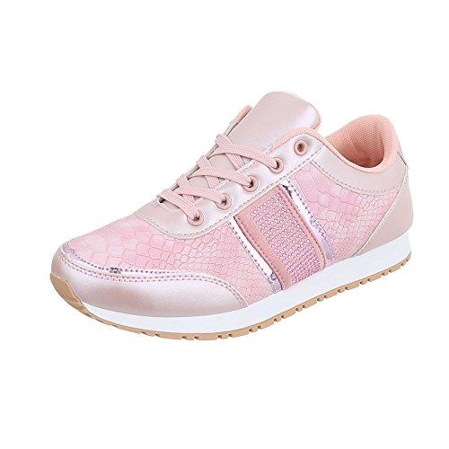 Ital-Design Sneakers Low Damen-Schuhe Low-Top Sneakers Schnürsenkel Freizeitschuhe Rosa, Gr 39, P005-