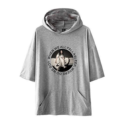 Billie Eilish Camiseta Camiseta básica de Manga Corta más vendida Camiseta de Manga Corta de diseño Simple Unisex (Color : Grey01, Size : XL)