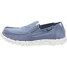 Dude Shoes Hombres Farty Lavado Azul De Acero
