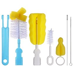 PChero 6-in-1 Baby Bottle Brushes Cleaner Set, Including 2pcs Nipple Brushes + 2pcs Straw Brushes and 2pcs Feeding Bottle Brushes Professional Nylon Sponge Bristles Brush Cleaner