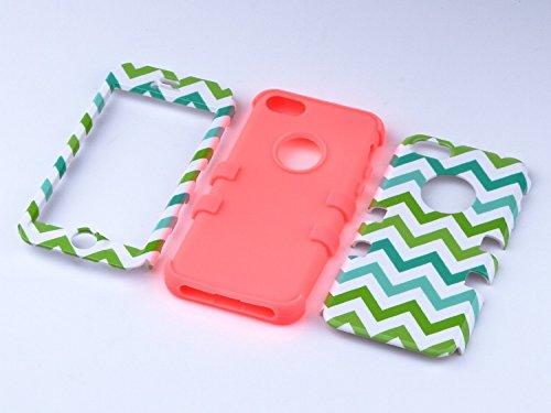 iPhone 5c Hülle, ULAK iPhone 5c Case 3 Layer Hybrid Combo Innere Weiche Silikon Hart Plastik Anti-stoß Schutzhülle Tasche Case Cover für Apple iPhone 5c (Rosé Gold) Grün+Orange