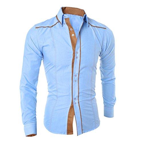 Malloom Herren Mode Langarm Hemd Beiläufige T-Shirt Bluse Top Blau