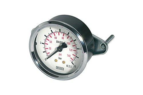 Standard Manometer, Dreikantfrontring, Stahl verchromt, Doppelskala bar/psi RI-110.85 -