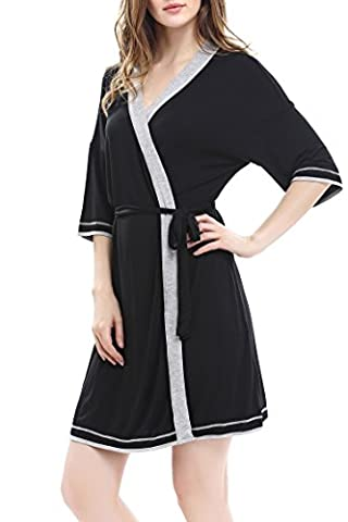 Women's Robes Cotton Knit short Sleep Lounge Bathrobe with Belt by Nara Twips(Black,S)