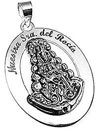 Colgante plata Ley 925m medalla Virgen Rocío cerco [AB1462]