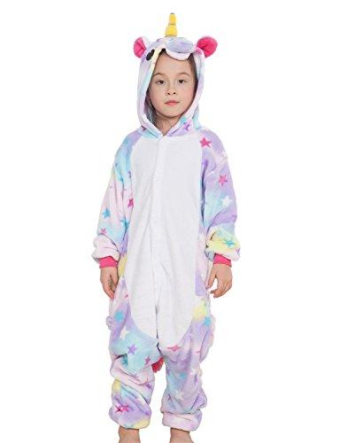 Landove-Pigiama-Intero-Bambina-Unicorno-Tuta-Flanella-Kigurumi-Animale-Tutina-Costume-Cosplay-Pajama-per-Party-Halloween-Carnevale-Sleepwear-Romper-Jumpsuit-Onepiece-Regalo-di-Compleanno-Natale