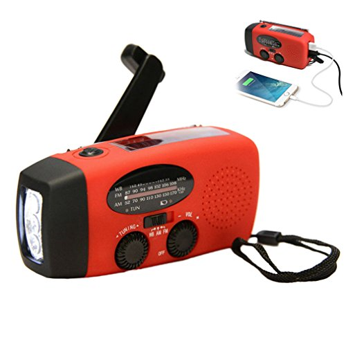 Buwico® Solar Hand Kurbel Dynamo selbst Powered AM/FM/NOAA Wetter Radio Verwendung als Not LED Taschenlampe und Power Bank