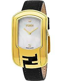 5286dc7c4acd Fendi Chameleon Femme  s-Large Nacre Visage Plaqué Or Jaune Montre Diamant  Swiss Bracelet Cuir Noir Watch…