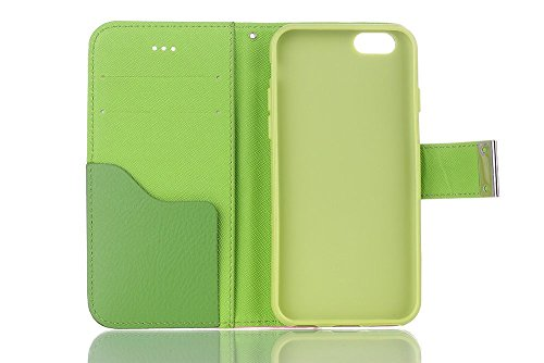 iPhone 7 Case, TechCode® PU Leather Card Slot Wallet Pocket Holster 360 Full Protection Flip Cover Holder Stand Case Einfache Stil for iPhone 7 4.7 Inch (iPhone 7, Grün) a04