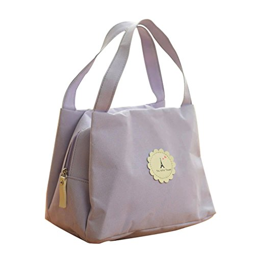 Higawin Kreative Portable Lunch Tasche Lunch Tote picknicktasche Der Eiffelturm Muster Lila