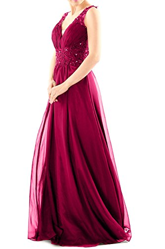 MACloth Women V Neck Chiffon Lace Long Prom Dress Formal Party Evening Ball Gown Fuchsia