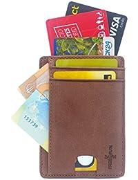 FreeHaveFun Leder RFID Blocker Mini Kreditkartenetui   Slim Wallet Geldbörse   Portemonnaie   NFC Geldbeutel Herren Damen Kartenetui   Minimalist Kartenhalter Brieftasche