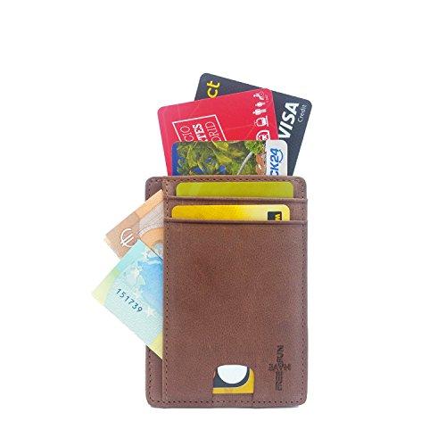 FreeHaveFun® Leder RFID Schutz Mini Kreditkartenetui | Slim Wallet Geldbörse | RFID Blocker Portemonnaie klein | NFC Geldbeutel Herren | Vintage Kartenbörse | Kartenetui flach