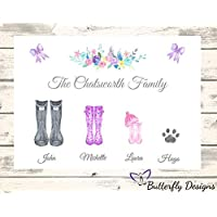 Personalised Watercolour Family Wellington Boots A4 PRINT Picture Design 1