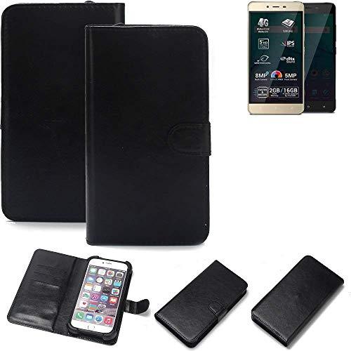 K-S-Trade® Wallet Case Handyhülle Für Allview P7 Pro Schutz Hülle Smartphone Flip Cover Flipstyle Tasche Schutzhülle Flipcover Slim Bumper Schwarz, 1x