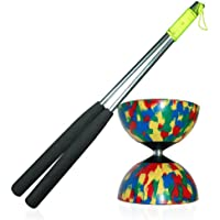 Mr Babache Harlequin Diabolo (4 col) Set with Aluminium Diablo Hand Sticks [Toy]