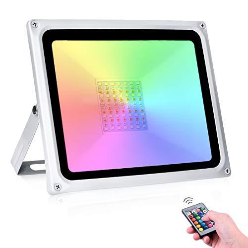 50W Foco LED RGB 16 Colores y 4 Modos IP65 Impermeable Proyector...