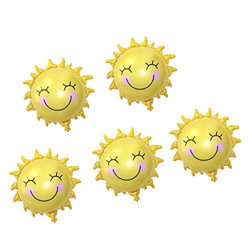Sharplace Lächelnde Sonne Ballons 5er / Set, Luftballons für Helium Gold Hochzeit Geburtstag Baby Taufe Strand Party Deko