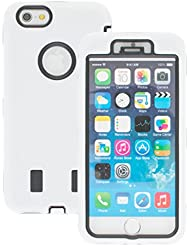 Good Quality Apple iphone 6 Case cover Durable Shockproof Armor Case 3in1 Combo Rigid PC + Soft Silicone Protective Case (White)