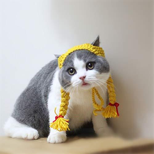 yangxiurongzuikeai YANGXIURONG Handmade - Haustier Katze/Hund/Kaninchen Strickmütze Perücke Styling Hut Cute Funny Pet Party Dress Up/Alltagsdekoration/Weihnachten/Halloween Dekoration (M,Gelb)