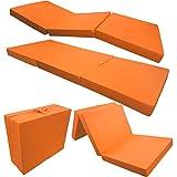 Colchón Plegable/Colchón Plegable 195x 65x 8cm en naranja microfibra Fácil Veraflex perfecto como invitados cama o camping Colchón Adecuado para adultos y niños