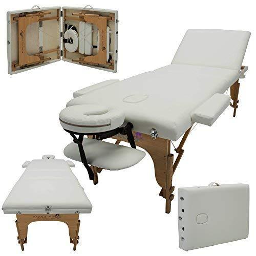 Massage Imperial® - tragbare Profi-Massageliege Kensington - leicht 16 Kg - 3 Zonen - 3-teilig - Elfenbeinweiß