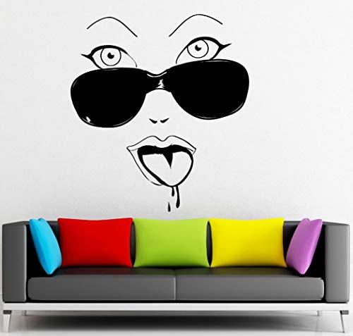 XCSJX Wandaufkleber Abnehmbare Hot Sexy Girls Brille Cool Decor Home Schlafzimmer Wandtattoos Mädchen Raumdekoration Wandkunst Wand 57x63 cm