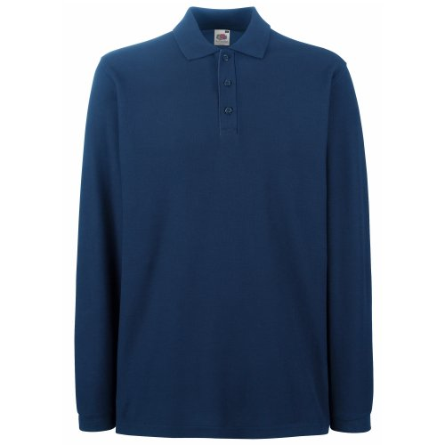 Fruit Of The Loom - Polo Manica Lunga - Uomo (XXXL) (Blu navy)