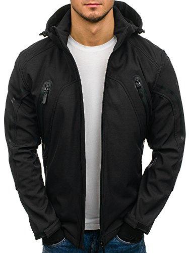 BOLF Herren Softshell Jacke mit Kapuze Sportjacke Outdoor NATURE 4846 Schwarz XL [4D4]