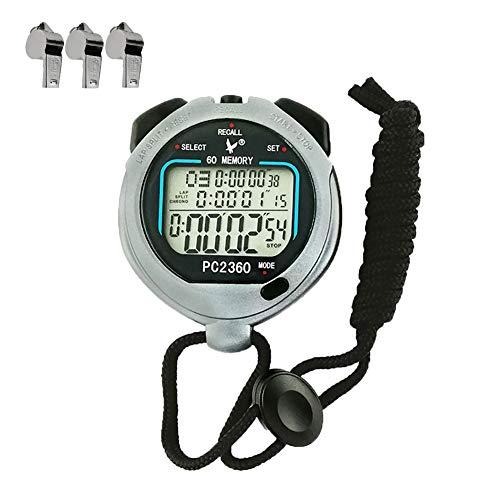 Ebestus digitale cronometro sport professionale con fischio, running cronografo 3 righe lcd contatore timer, per sportivo palestra, arbitri, coaches (batteria inclusa)