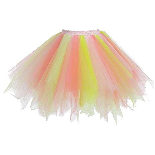 sumuya Retro Petticoat Tutu Damenrock Tüllrock 50er Kurz Ballet Tanzkleid Unterkleid Cosplay Crinoline Petticoat für Rockabilly Kleid I (Kinder Rock And Roll Tanz Kostüme)