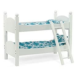 White Bunk Bed Doll Furniture | Fit 18 Inch American Girl Dolls | Includes Vibrant Blue Floral Beddi