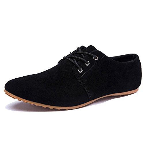 Minetom Mocasines para Hombre Zapatilla Baja Estilo Británico Comodidad Cuero de Boda Con Cordones de Zapatos Planos de Vestir de Negocios Negro EU 43