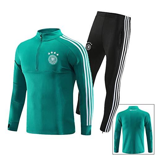 QAZWSX Erwachsene Fußballuniform Deutschen Männer Fußball Team Trikot, Langarm Trainingsanzug Sportbekleidung Anzug Hosen + Lange Ärmel -