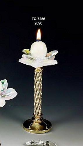 Decorazione casa candeliere portacandela medio fiore cristallo swarovski e acciaio dorato made in italy