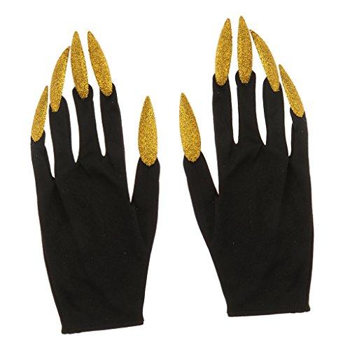Magideal guanti spaventosi da donna uomini lunghe unghie costume cosplay accessori vampiro - oro e nero