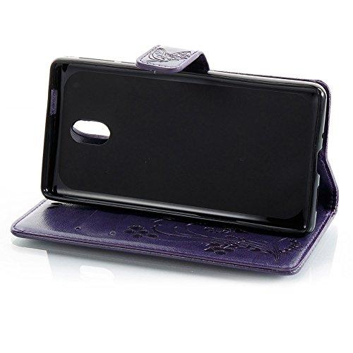 EKINHUI Case Cover Horizontale Folio Flip Stand Muster PU Leder Geldbörse Tasche Tasche mit geprägten Blumen & Lanyard & Card Slots für Nokia 3 (N3) ( Color : Gray ) Purple