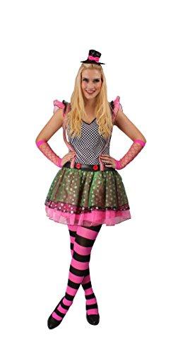 KARNEVALS-GIGANT Clown Kostüm Bunt für Damen | Größe 44-46 | 4-Teiliges Narrenkostüm | Clownin Faschingskostüm für Frauen | Närrin Outfit für Karneval | Erwachsenen Clowns-Verkleidung