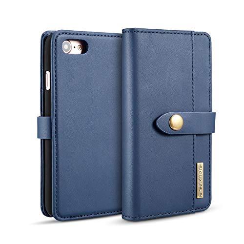 DEAN Telefon Rückseite Entwickelt for IPhone 8/7-Hülle, abnehmbare, magnetische, stoßfeste horizontale Flip-Schutzhülle aus Lammfell, mit Halter und Kartenfächern und Brieftasche ( Farbe : Blau ) - Blau Lammfell Brieftasche