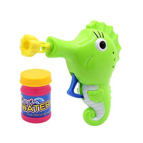 Toyvian Hippocampus geformt Blase Maschine Blase Gebläsehersteller Sommer Outdoor Spielzeug wit ipc Blase Wasser für Kinder Kinder (Hippocampus, grün
