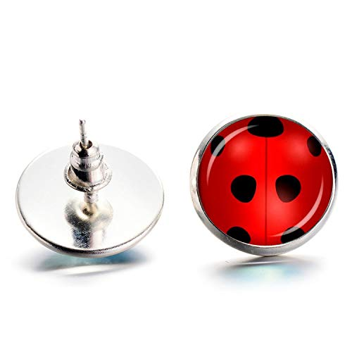 Daawqee Damen-Ohrstecker, Magical Ladybug Stud Earrings Cosplay Lady Bug Circle With Dot Animal Earrings For Women Girls Party Gifts Anime Jewelry Silver - Base-bug