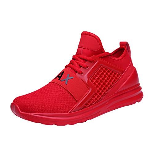 Dorical Damen Herren Laufschuhe Sneakers Sportschuhe Ultraleicht Air Freizeitschuhe Basketballschuhe Mode Fitnessschuhe Turnschuhe Wanderschuhe Joggingschuhe rutschfest Bequem(Rot,44 EU)