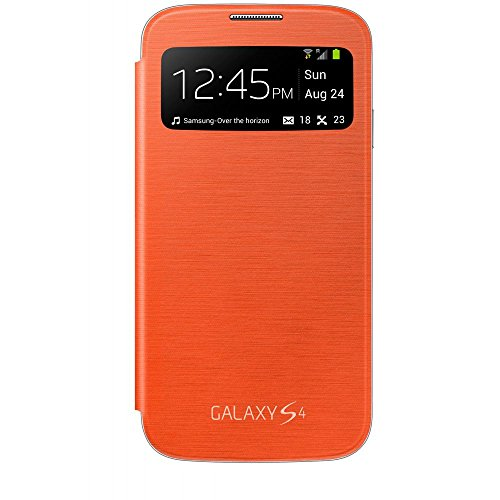 Samsung S View Hülle Schutzhülle Premium Case Cover für Galaxy S4 - Orange (Mega S4 Handy Samsung Galaxy)