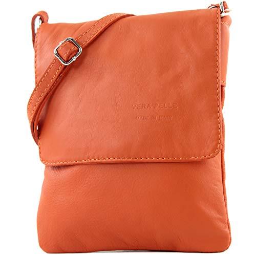 modamoda de - T34 - ital Damen Umhänge-/Schultertasche Klein, Farbe:Rotorange (Orange Stoff-handtaschen)