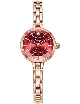 Alienwork Quarz Armbanduhr Armreif Kette wickeln Uhr Damen Uhren Mädchen Strass Metall rot rose gold YH.K6221S-07