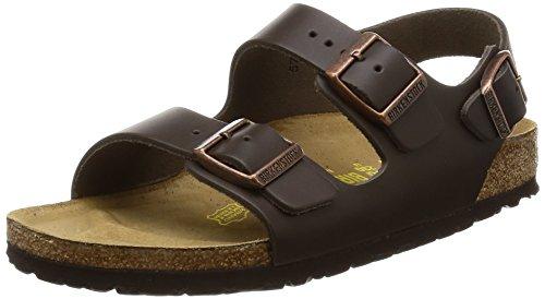 Birkenstock milano sandali in vero cuoio, unisex adulto, marrone (dunkelbraun), 41 (stretta)